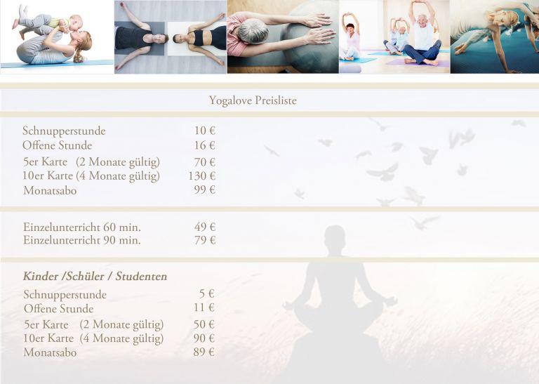 preisliste yogalove